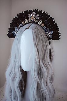 Ozdoby do vlasov - Čierna mušličková koruna z kolekcie 𝕾𝖍𝖆𝖒𝖆𝖓 𝕳𝖆𝖑𝖑𝖔𝖜𝖊𝖊𝖓 - 11111932_