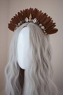 Ozdoby do vlasov - Hnedá mušličková koruna z kolekcie 𝕾𝖍𝖆𝖒𝖆𝖓 𝕳𝖆𝖑𝖑𝖔𝖜𝖊𝖊𝖓 - 11112113_