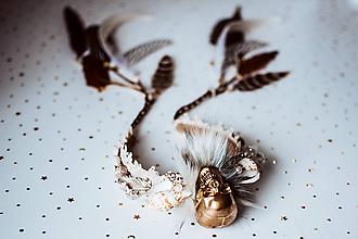 Ozdoby do vlasov - Koruna s lebkou a mušličkami z kolekcie 𝕾𝖍𝖆𝖒𝖆𝖓 𝕳𝖆𝖑𝖑𝖔𝖜𝖊𝖊𝖓 - 11112140_