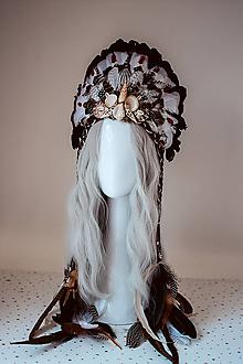 Ozdoby do vlasov - Čierna mušličková koruna z kolekcie 𝕾𝖍𝖆𝖒𝖆𝖓 𝕳𝖆𝖑𝖑𝖔𝖜𝖊𝖊𝖓 - VÝPREDAJ - 11112171_