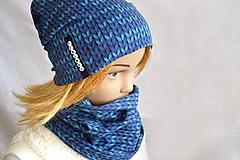 Detské čiapky - Bavlnená set Twist - modrý s menom - 11113632_