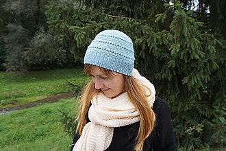 Čiapky - Modrá čiapka z jemného merina - 11109973_