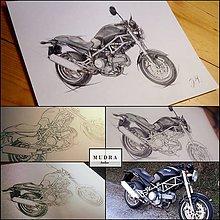 Kresby - Kreslená motorka - na zákazku - 11111533_
