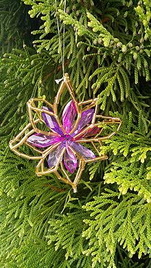 Dekorácie - Dekorácie na stromček (Hviezdička fialová) - 11110430_