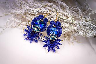 Náušnice - Soutache visiace náušnice kráľovská modrá - 11111416_