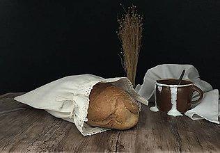 Úžitkový textil - Vrecúško na chlieb z ručne tkaného plátna - 11112298_