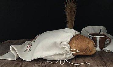Úžitkový textil - Ľanové vrecúško na chlieb so strojovou výšivkou - 11113201_