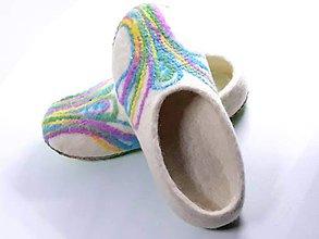 Obuv - Dámske vlnené plstené papuče - 11110765_