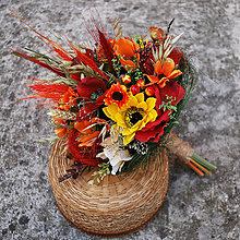 Dekorácie - Jesenná kytica dekoračná, gratulačná, do vázy - 11115968_