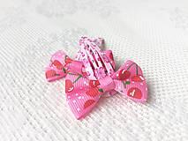 Ozdoby do vlasov - Pin Up sponky do vlasov (ružové/čerešničky/kvetinky) - 11115074_