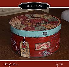 Krabičky - Okrúhla krabica -Teddy Bear - 11113880_