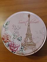 Dekorácie - Plechová krabica Paríž,stredná,ružová - 11114894_