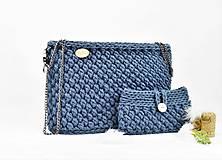 Kabelky - Set kabelka + púzdro háčkovaná natur jeans - 11114698_