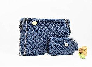 Kabelky - Set kabelka + púzdro háčkovaná natur jeans - 11114697_
