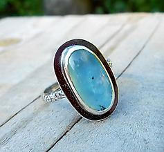 Prstene - Strieborný Prsteň s Modrým Opálom z Peru - 11114603_