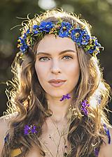 Ozdoby do vlasov - Modrý kvetinový venček MAKY - 11113743_