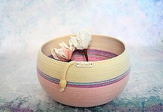 Košíky - Košík/ miska jemně růžová/přírodní s melírem 347 - 11116739_