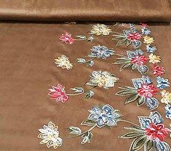 Textil - Imitácia jelenice s výšivkou - 11115794_
