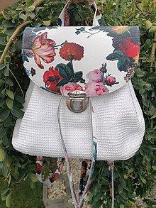 Batohy - Biely kvetinový vak/ruksak - 11114324_