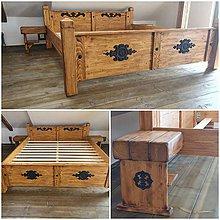Nábytok - Drevená farmárska posteľ 200x180 - 11113852_