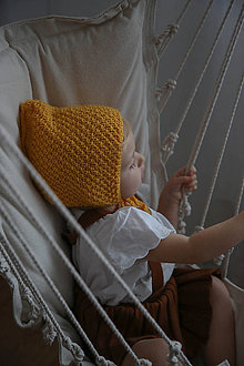 Detské čiapky - Žltá Bonetka - 11116247_