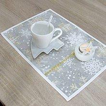 Úžitkový textil - GRACIA - zlaté a biele vločky - prestieranie 28x40 - 11116440_