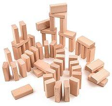 Hračky - Drevená stavebnica - malé dosky - 55 ks (+ vrecúško) - 11114924_