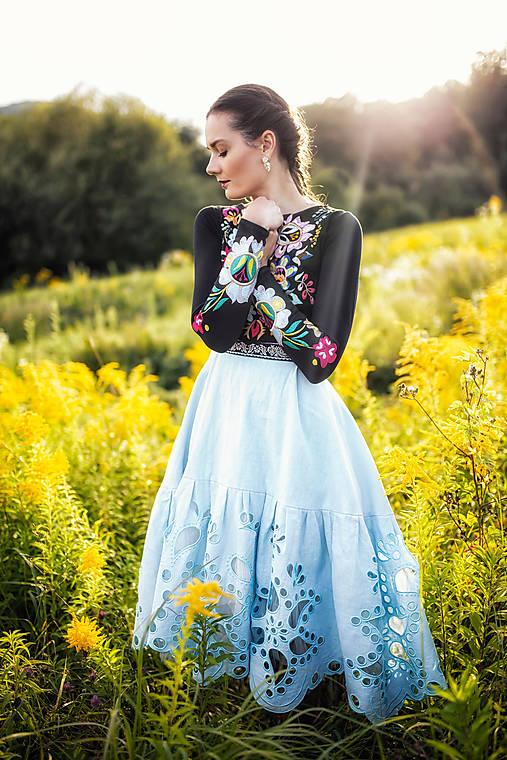 midi vyšívané šaty modré Poľana