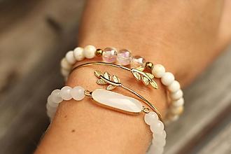 Náramky - TRIO náramky z minerálov biely jadeit a krištáľ - 11115653_