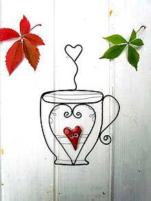 Dekorácie - šálka s keramickým ♥ ☕ * 20 cm - 11115014_