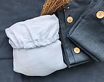 Úžitkový textil - Ľanová plachta s gumičkou (90x200 tmavomodrá - Modrá) - 11115753_