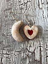 Náušnice - linecké srdiečko a vanilkový rožtek - 11114174_