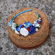 Ozdoby do vlasov - Čelenka modrá s kvapkou červenej,folklórna, slovenská - 11118505_