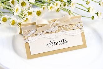 Papiernictvo - Prírodné svadobné menovky s čipkou - 11118026_