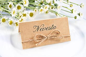 Papiernictvo - Prírodné svadobné menovky hnedé - 11118027_