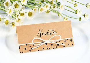 Papiernictvo - Srdiečkové svadobné menovky - 11118033_