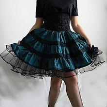 Sukne - Riasená tyrkysová volánová sukňa - 11117012_