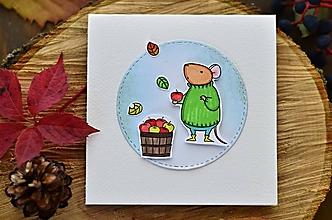 Papiernictvo - V znamení jesene (Myška s jabĺčkami) - 11119260_