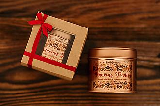 Svietidlá a sviečky - Sójová sviečka v plechovke - RoseGold - Vianočný Puding 185g/45hod (darčekové balenie) - 11117183_