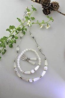 Sady šperkov - selenit náušnice,náramok, náhrdelník - súprava - 11117495_