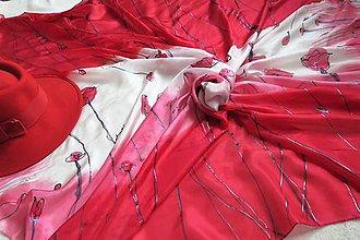 Šatky - veľká hodvábna šatka ČERVENÉ MAKY 140x140 - 11118663_