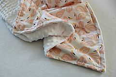 Textil - Minky deka Labute, 100x70cm - 11118242_