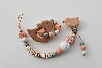 Detské doplnky - Set alebo samostatná retiazka na cumlík a hryzátko s menom púdrovo-ružová - 11118267_