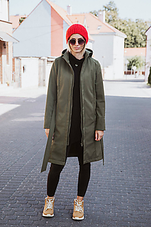 Kabáty - Bunda Olívia (Zimný softshell) (S - Vojenky-zelená) - 11118388_