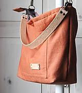 Veľké tašky - Veľká ľanová taška *brick* - 11118015_
