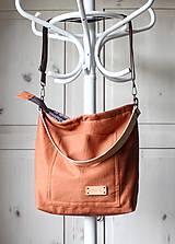Veľké tašky - Veľká ľanová taška *brick* - 11118017_