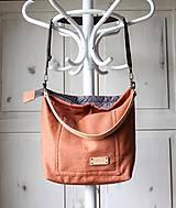 Veľké tašky - Veľká ľanová taška *brick* - 11118021_