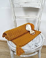 Textil - detská deka -horčicová + hryzátko -súprava (detská deka + hryzátko-súprava) - 11118610_