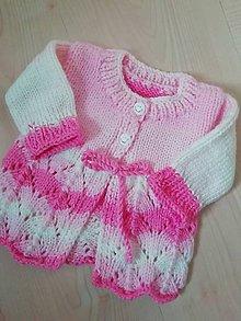 Detské oblečenie - SVETRÍK PRE MIMINKO - predvianočná ZĽAVA - maslovo biela ružová - 11117219_