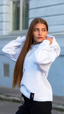 Mikiny - MONACO mikina s kapucňou biela - 11117343_